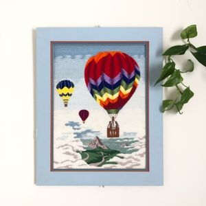 Vintage Crewel Embroidery Hot Air Balloons